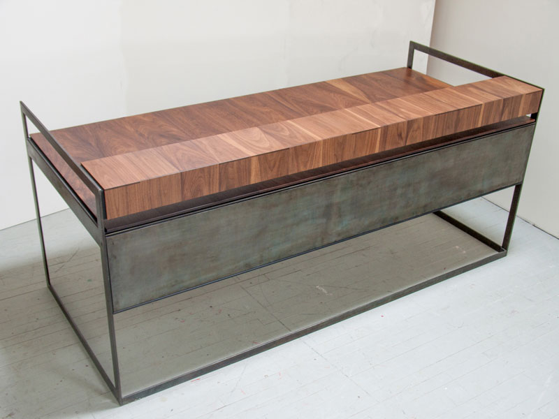 Custom walnut and steel desk; www.justinbuilds.com