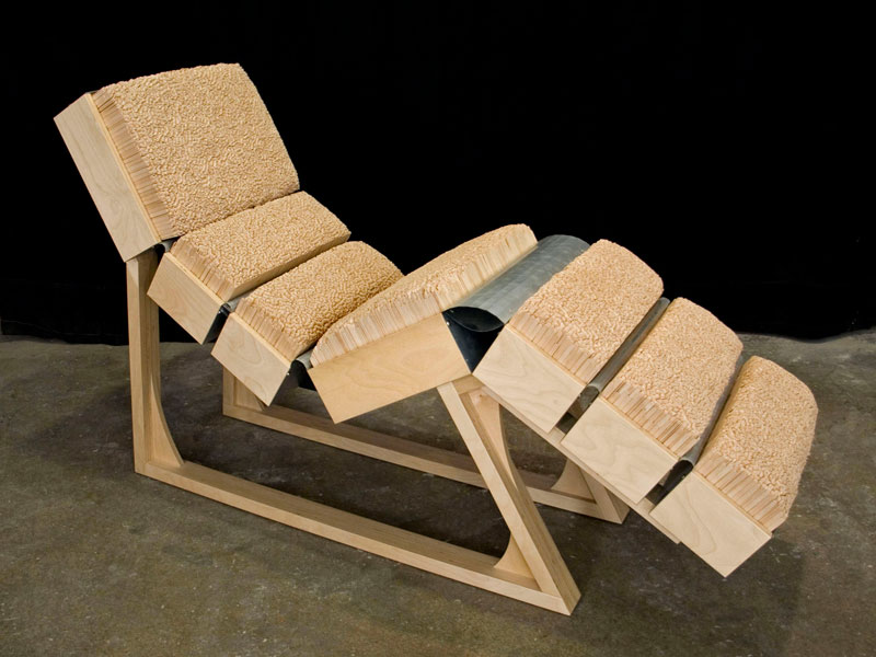 Custom lounge chair with Popsicle stick cushion, Cranbrook Academy of Art; www.justinbuilds.com
