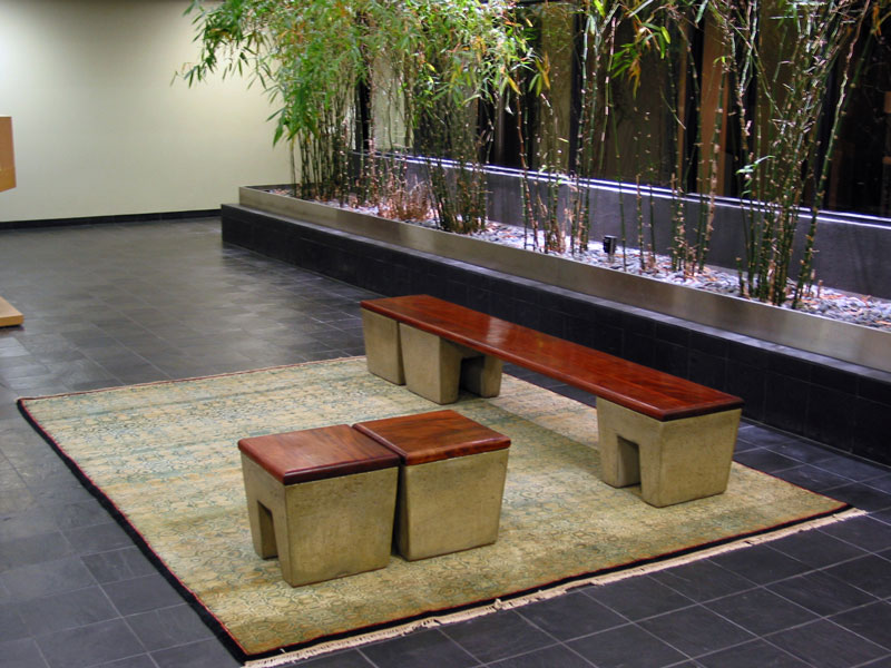 Custom concrete and mahogany benches, nodesign, LLC; www.justinbuilds.com