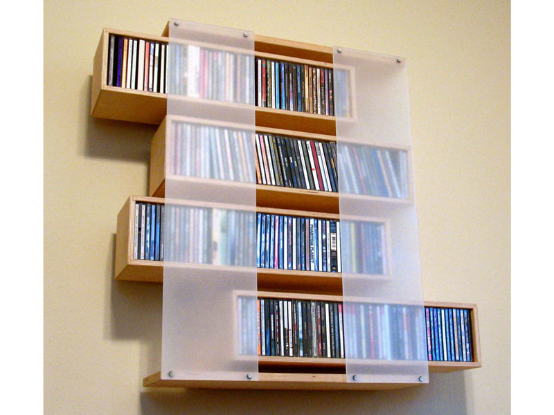 Custom sliding CD storage shelf; www.justinbuilds.com