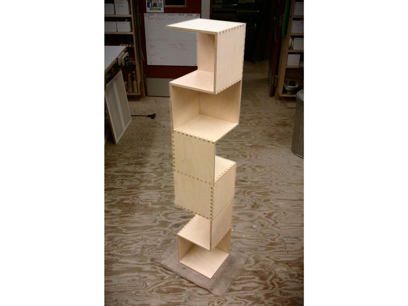 Custom freestanding plywood bookshelf, CNC fabricated, Anderson Ranch Arts Center; www.justinbuilds.com