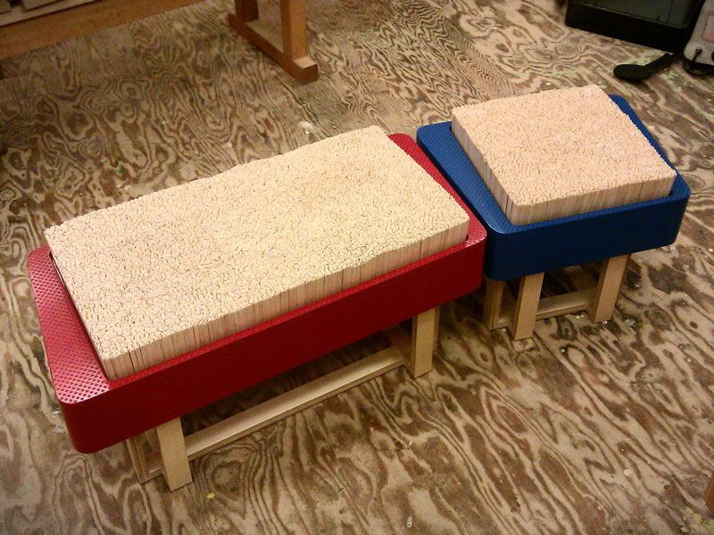 Custom bench and stool with Popsicle stick cushions, Anderson Ranch Art Center; www.justinbuilds.com