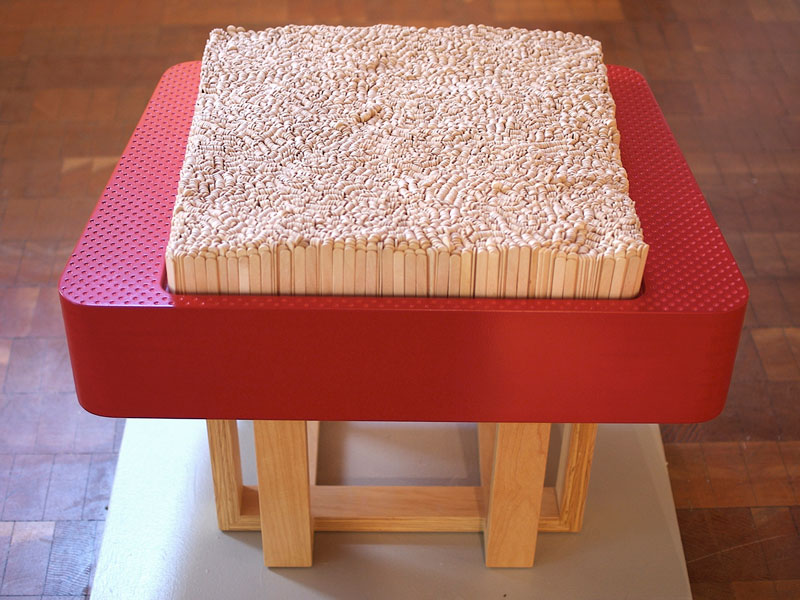 Custom stool with Popsicle stick cushion, Anderson Ranch Art Center; www.justinbuilds.com