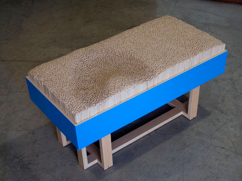 Custom bench with Popsicle stick cushion, Cranbrook Academy of Art; www.justinbuilds.com