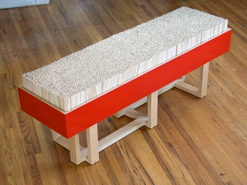 Custom bench with Popsicle stick cushion; www.justinbuilds.com